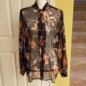 WHO WHAT WEAR COLORFUL FLORAL BLOUSE, NWOT  SIZE M